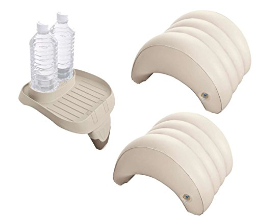 harren24 Zubehör-Set 3-teilig kompatibel mit Intex PureSpa Whirlpools (1x Ablage-Tablett 28500, 2X Kopfstützen 28501)