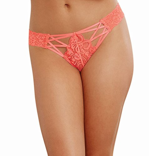 Dreamgirl Women's Lace Panty with Front Criss-Cross Detail, Coral, S