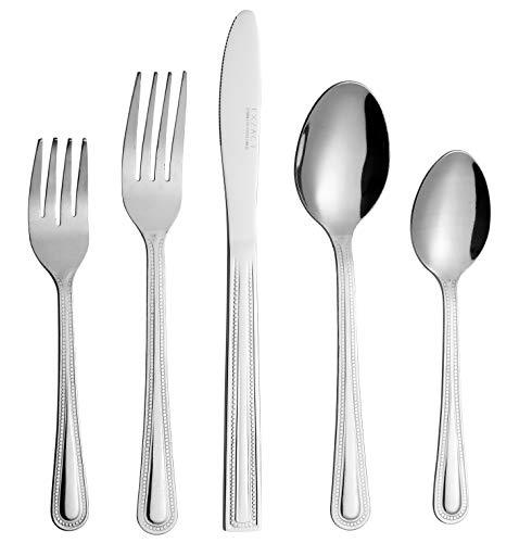 Exzact Besteck-Packung 20 Stück Edelstahlgeschirr, Essmesser x 4, Essgabel x 4, Salatgabel x 4, Tafellöffel x 4, Teelöffel x 4 - für den täglichen Gebrauch, einfach robust, langlebig (WF806-20)