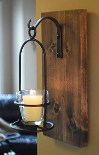 Rustic Wrought Iron Hanging Candle Sconce 12 inch, 2 inch Glass Votive Candle Holder and Candle, Handmade in The USA, Farmhouse Decor