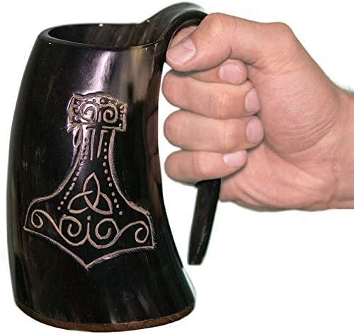 100 Authentic Beer Viking Drinking Horn Mug Horn Tankard w Thor s Hammer Engraving The Mjolnir product image