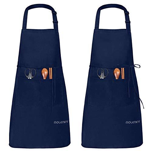MOLENKY Grembiule Regolabile da 2 Pezzi con 2 Tasche, Waterproof Adulti Grembiule da Cucina, Adatto per Casa Lavoro Campeggio all'aperto, per Uomo e Donna