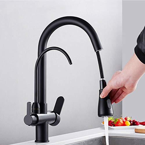 Filtro grifo de la cocina de latón negro mate grifo de la cocina con agua pura Pull Out estilo grifo de la cocina caliente fría grúa