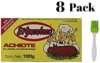 El Yucateco Paste Achiote 3.5 oz (Pack of 8) Bundled with Silicone Basting Brush in a Prime Time Direct Sealed Bag