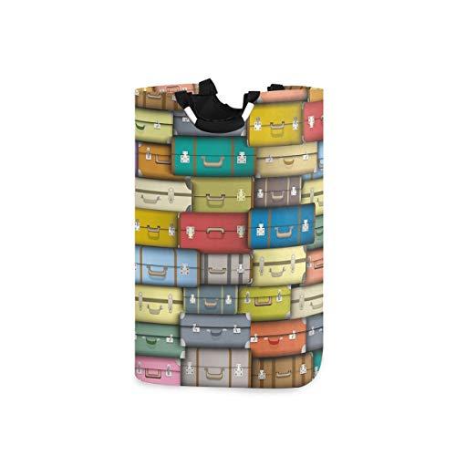 DYCBNESS Cesto para la Colada,Fondo Maletas Coloridas Viaje Vintage Viaje Vacaciones con Temática Diseño,Cesta de lavandería Plegable Grande,Cesto de Ropa Plegable,Papelera de Lavado Plegable