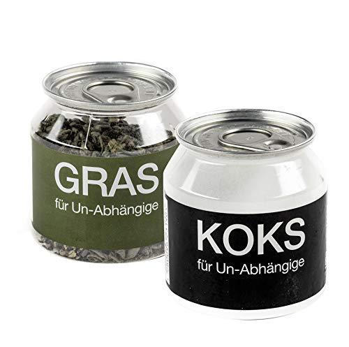 Close Up Gras und KOKS für Un-Abhängige im 2-er Set - Fun Scherzartikel, Tee & Traubenzucker