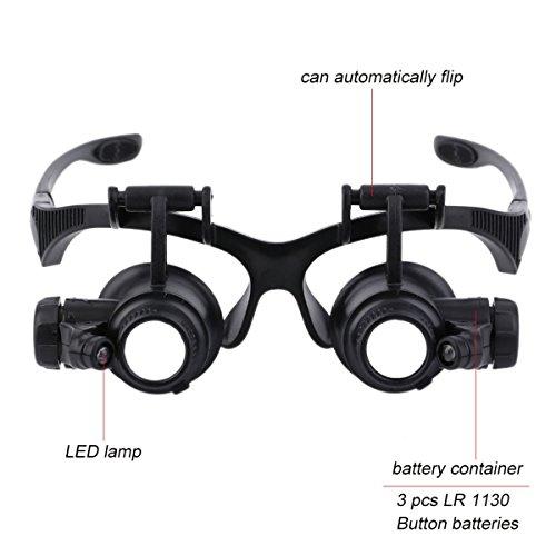Gugutogo 1PC 20x lente d' ingrandimento da gioielliere occhio occhiali Loupe gioielliere orologio riparazione strumento da vivavoce: gambe (colore: Nero)