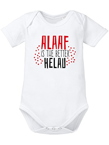 clothinx Baby-Body Bio Karneval 2020 Alaaf is The Better Helau Weiß/Rot mit Schwarz Größe 68