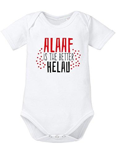 clothinx Baby-Body Bio Karneval 2020 Alaaf is The Better Helau Weiß/Rot mit Schwarz Größe 62