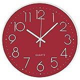 Outpicker Reloj de Pared Moderno de 30 cm silencioso sin tictac, Funciona con Pilas, Decorativos de Pared para decoración de Salon/Cocina/Oficina (Rojo)