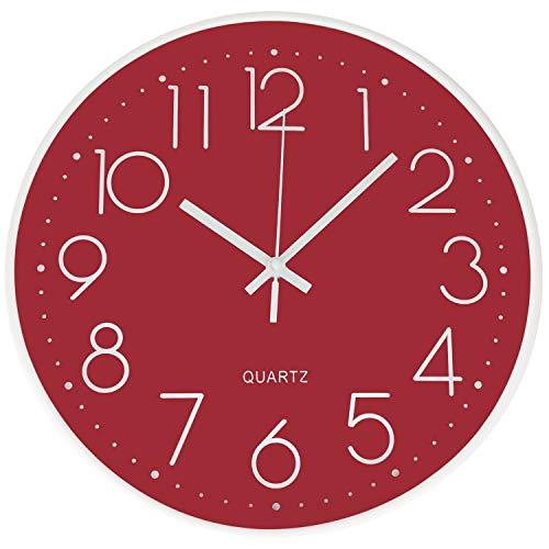 DORBOKER Orologi da parete moderni da 12 pollici per soggiorno, cucina, ufficio scolastico (Rosso)