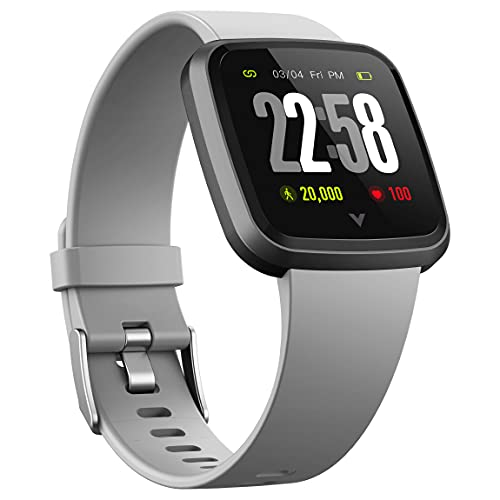 VAAN Vetouch Full Touch Control Smart Watch (Grey) with Fitness and Health Tracker, 1.3inch Touch Screen, Heart Rate and Blood Pressure Monitor, Female Period Tracking, 7 Days Battery Life