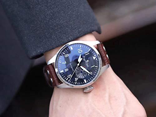 GFDSA Automatische horloges Luxe merk Heren Automatisch mechanisch Zilver Koffie Pilot 7 dagen gangreserve Bruin leer Goud Blauw horloge