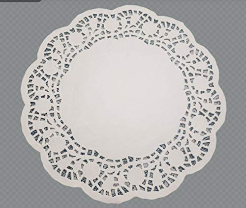 PAPER DOILIES LACE 10.5 Inches BULK 100 Pieces White ROSE Design Paper Placement Table Doilies Paper Lace Disposable Perfect for Wedding, Birthday, Tea Party, Dining Tableware Decoration (100 Pieces)