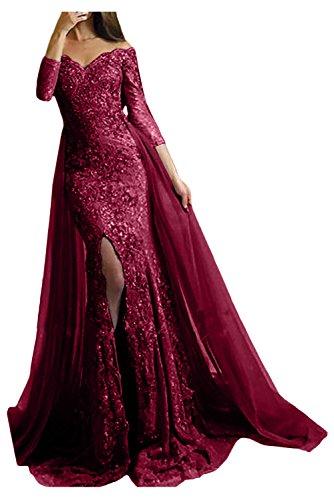 Victory Bridal Damen Fashion Etui Mermaid Abendkleider Lang Spitze Ballkleider Fest Hochzeitskleider mit Schleppe-32 Weinrot