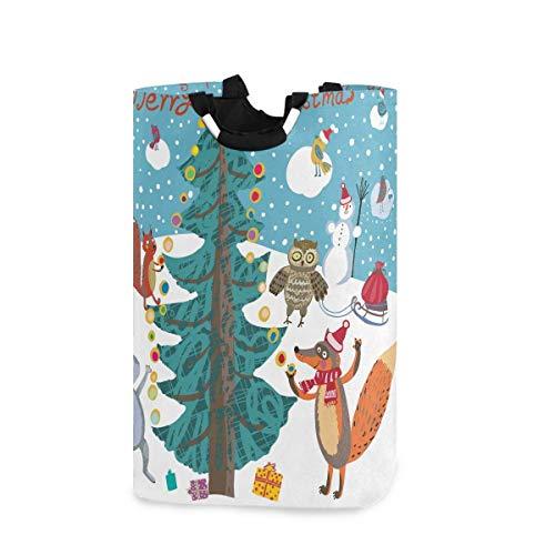 Cesto grande de almacenamiento con asas para cestas de regalo, dormitorio, ropa y búho, diseño de zorro, de acuarela