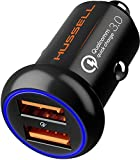 Car Charger Adapter, Metal USB Car Charger by HUSSEL - High Performance Aluminum 2 Port...
