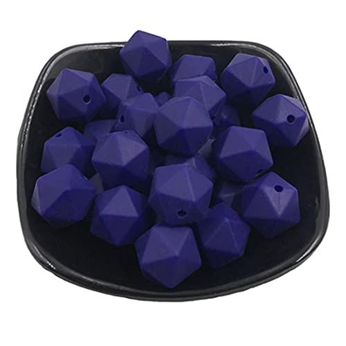 Coskiss 50 piezas 17mm DIY mordedor juguetes geométricos cuentas de silicona poligonales para collar de enfermería accesorio de pulsera (2)