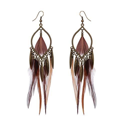 Pendientes bohemios para mujer, plumas, color marrón