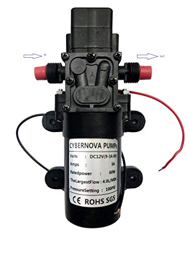 CYBERNOVA Bomba autocebante de diafragma de alta presión de agua dulce de DC 12 V 100 PSI 4,5 l/m con interruptor de presión Caravana/Barco/RV/Jardín (3210)
