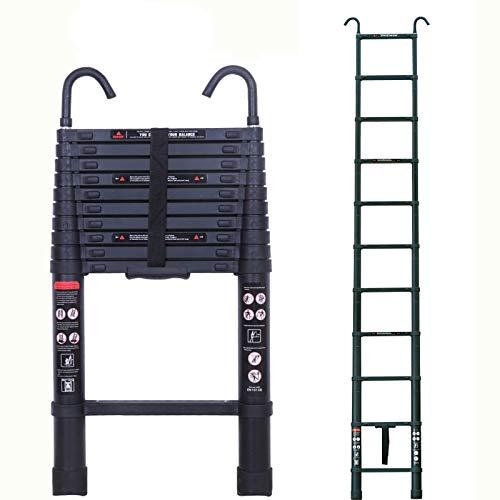 Escalera telescópica de 3,2 m con gancho, escalera telescópica de aluminio, ligera, portátil, certificado EN131, capacidad de carga de 150 kg con pies de goma antideslizantes, 10 pies