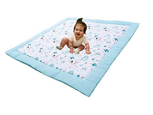 Divita Baby Krabbeldecke Kuscheldecke Spieldecke 115x115 cm groß, weich und gepolstert 100% Baumwolle mit süßen Muster (Mint - Tiere)