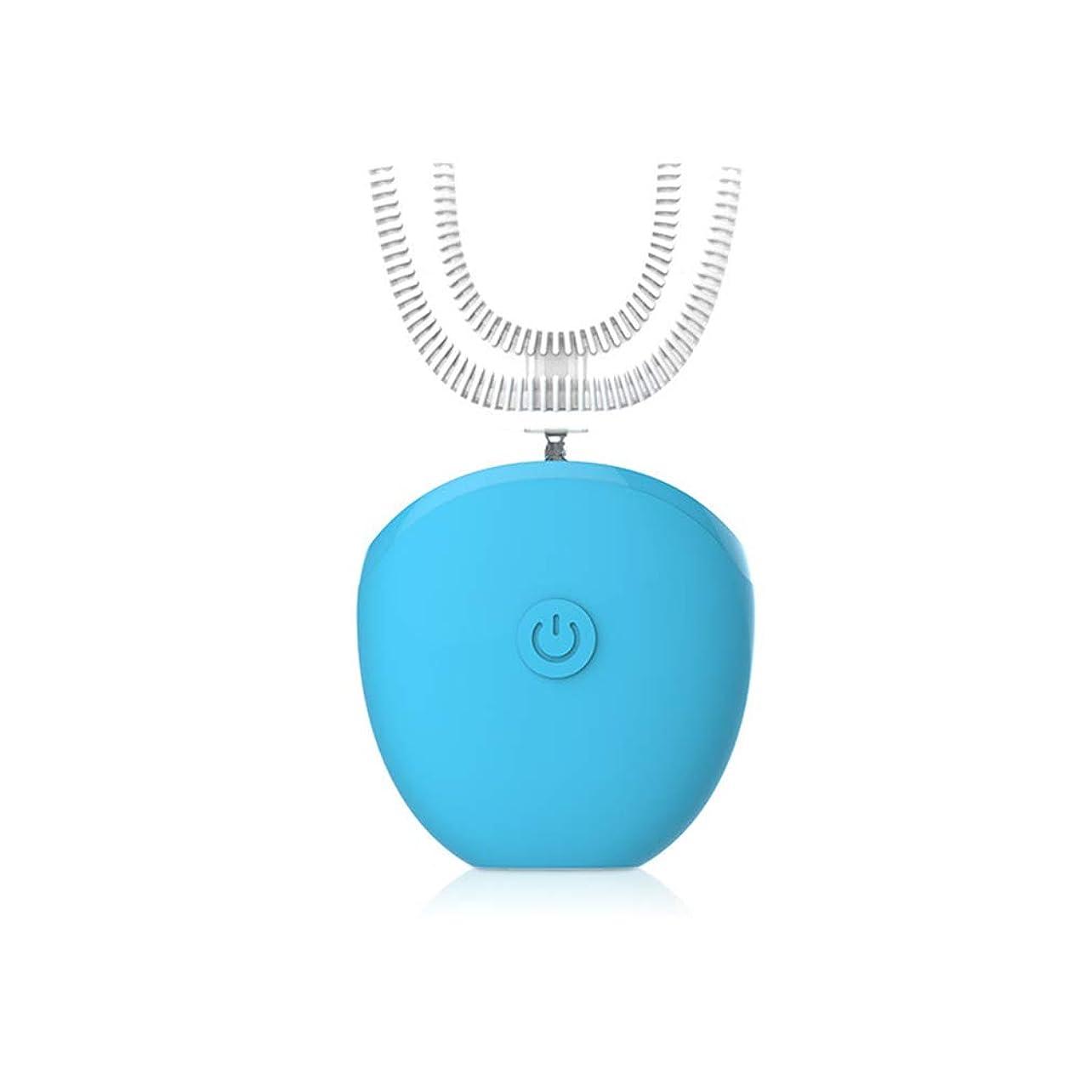 世辞機動あらゆる種類の全自動電動歯ブラシ、360°超音波歯ブラシ、15秒での高速ブラッシング、Lazy Tooth Cleaner、ワイヤレス充電ドック,Blue