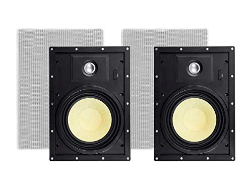 Best Price! Monoprice 2 Way in-Wall Speakers - 8 Inch (Pair) with Snap-Lock, Aramid Fiber and Titani...