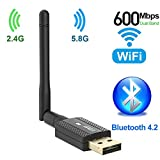 600Mbps Bluetooth 4.2 USB WiFi Adapter, Dual Band 2.4Ghz / 5.8Ghz USB Wireless Adapter with 2DBI Antenna, USB WiFi Dongle for Desktop/Computer, Support Win Vista/XP/7/8.1/10/MacOS 10.6~10.15.3
