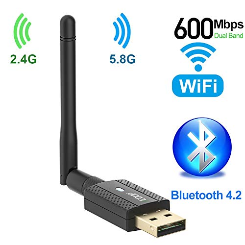 Adattatore WiFi Bluetooth 4.2 da 600 Mbps, adattatore wireless USB Dual Band 2.4Ghz/5 Ghz con antenna 2DBI, dongle WiFi USB per desktop/computer, supporto Win Vista/XP/7/8.1/10/MacOS 10.6~10.15.3