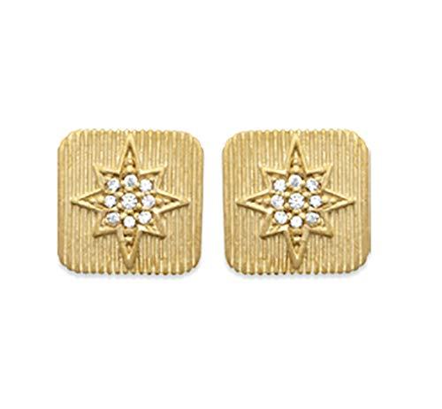 Pendientes chapados en oro de 18 quilates – Cuadrados rayados con estrella engastada con óxido de circonio – Bolsa de terciopelo de regalo