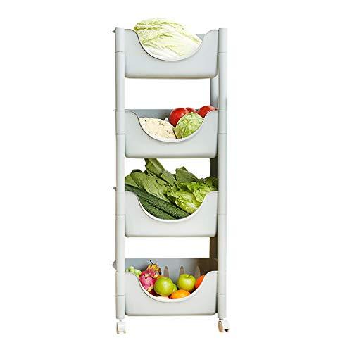 Obst- und Gemüseständer Küchenregal Mehrschichtiger Stapelkorb Badregal Obst- und Gemüsestaukorb Mit Riemenscheibe (Color : Blue)