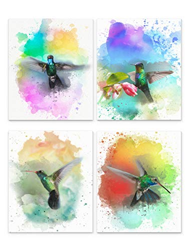 Hummingbird Wall Art, 8'x10' Set of Four, Unframed Art Print - Stunning Watercolor Style Bird Decor for Kitchen, Bedroom, Office, Bathroom, Home. Great Gift Idea Under $15 for Bird Lovers