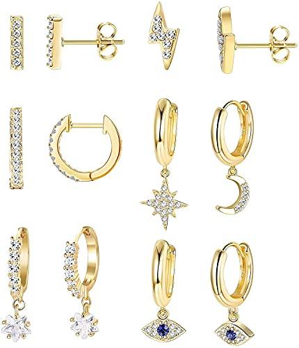 Chyang 6 Pares Moon Star Dangle Hoop Pendientes para Mujeres Mini Bar Stud Pendientes CZ Drop Cartílago Joyería Linda Pequeño Huggie Hoop Valentiine Gift Gold Placking (Color : Gold Tone)