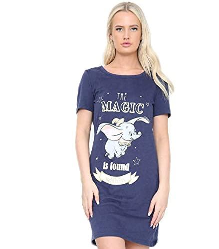 Damen Ex Disney Sommer Baumwolle Pyjama Nachthemd Damen Dumbo Kurzarm Loungwear Gr. 34, blau