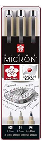 Sakura Pigma Micron - Pigmento fineliners color negro 3 unidades .005.01.PN. Made in Japan