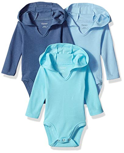 Hanes baby girls Ultimate Flexy 3 Pack Hoodie Bodysuits Bodystocking, Blues, 12-18 Months US
