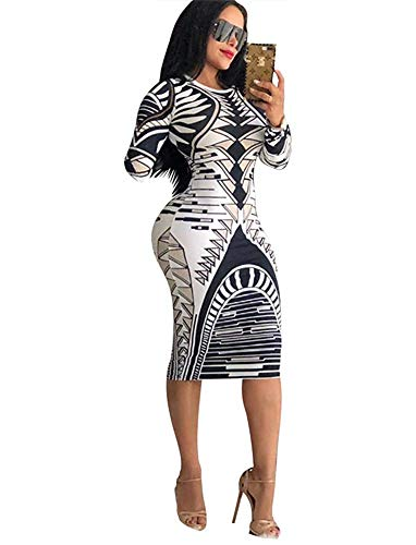 Womens Casual Long Sleeve African Printed Midi Pencil Dresses
