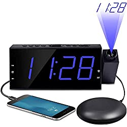 OnLyee Projection Ceiling Wall Clock with Bed Shaker, 7 LED Digital Desk/Shelf Clock with Dimmer, USB Charging, AC Powered and Battery Backup for Bedroom, Kitchen, Kids