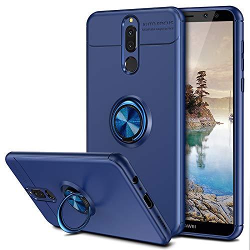Coolden für Huawei Mate 10 Lite Hülle, 360 Grad drehbarer Ring Halter Ständer Ultra Dünn Handyhülle Hülle Weich TPU Bumper Cover Outdoor Stoßfest Schutzhülle für Huawei Mate 10 lite Blau