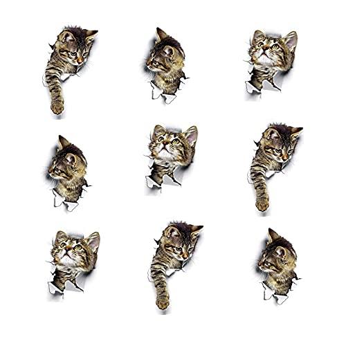 9 Piezas Etiqueta de La Pared Del Gato, Pegatinas de Pared de Gato Extraíbles 3D, para Decoración de Pared, Ventana de Coche, Inodoro, Baño, Dormitorio, Cocina, Decoración Del Hogar de Bricolaje