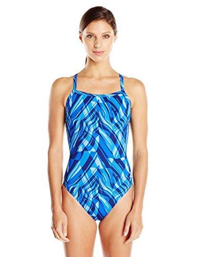 Speedo Women's Zee Wave Fly Back One Piece Swimsuit, Blue, 32