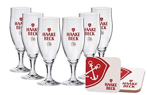 Haake-Beck Premium Pils Pokal 0,4 Liter [6er Set] mit 6 Originale Bieruntersetzer (Bierdeckel) - Original Bierglas für Gastronomie & Sammler - 40cl Bier Glas - Spülmaschinenfest - NEU