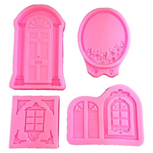 Yintiod 4-delig/set 3D deur raam silicone vorm lijst cake grens fondant decoreren cookie back candy chocoladevorm