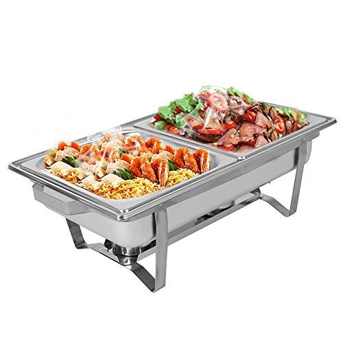 Greensen 2 x Chafing Dish Edelstahl Speisewärmer Warmhaltebehälter mit Pfannenalkoholofen Wärmebehälter Rechteckige Warmhaltegerät für Chafing, Großküche, Catering, Buffet und Party, Silber