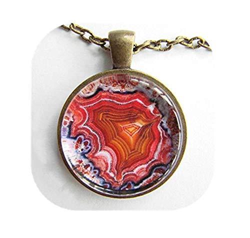 heng yuan tian cheng Achat-Geode-Halskette, Geologie-Kunst, natürliche Schönheit, Explosion von Rot, Rosa und Weiß, Ökologie-Halskette, Freundschafts-Zeichen