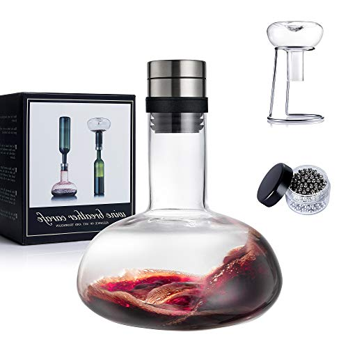 YouYah Wine Decanter Set,Red Wine Carafe with Drying Stand,Cleaning Beads and Aerator Lid,Crystal Glass,Wine Aerator,Wine Breather,100% Hand-blown,Wine Accessories,Wine Gifts for Men (1300ML)