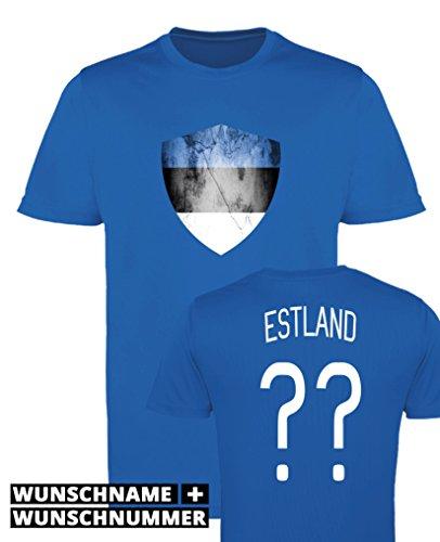 Comedy Shirts - Estland Trikot - Wappen: Groß - Wunsch - Damen Trikot - Royalblau/Weiss Gr. XXL