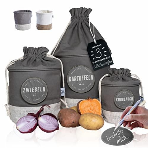 Glückstoff® Aufbewahrungsbox 3er-Set aus Stoff [Nachhaltig] Kartoffel Knoblauch Zwiebel-Topf | Küchen-Deko Bad Vorrats-Behälter | Vintage Korb Retro Leinen-Beutel | Lagerung Lebensmittel Gemüse (Grau)