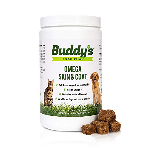 Dog and Cat Soft Chew Vitamin Supplement for Skin and Fur Coat Health Support- 180 Soft Chews- Rich in Salmon Oil Omega 3 and 6 Fatty Acids, EPA, DHA- Natural Taste, Made in USA